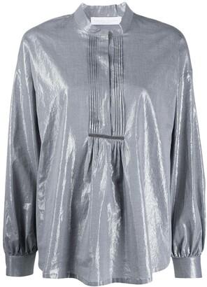 Fabiana Filippi metallic effect henley blouse