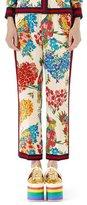 Gucci Corsage-Print Silk Pajama Pants, Ivory