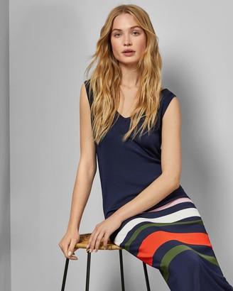 Ted Baker Stripe Detail Knitted Midi Dress