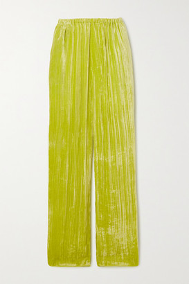 Balenciaga Crushed-velvet Wide-leg Pants - Yellow