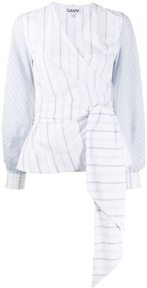 Ganni Striped Wrap-Front Blouse