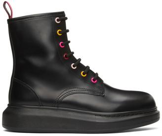 Alexander McQueen Black Rainbow Eyelets Hybrid Combat Boots