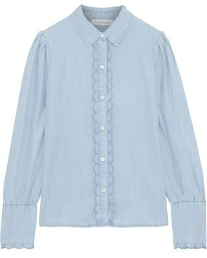Frame Scalloped Tencel-chambray Shirt