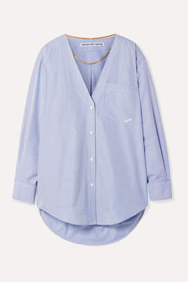 Alexander Wang Embellished Striped Cotton-poplin Shirt - Blue