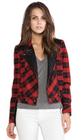 Tracy Reese Tartan Plaid Little Moto Jacket With Leather