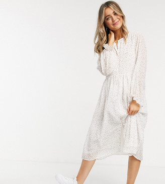 Wednesday's Girl relaxed midi smock dress in ditsy floral
