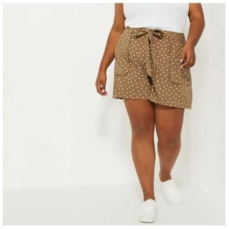 Joe Fresh Women+ Print Utility Shorts, Brown (Size 2X)