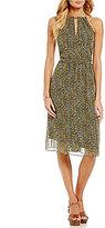 MICHAEL Michael Kors Metallic Floral Print Halter Split Neck A-line Dress