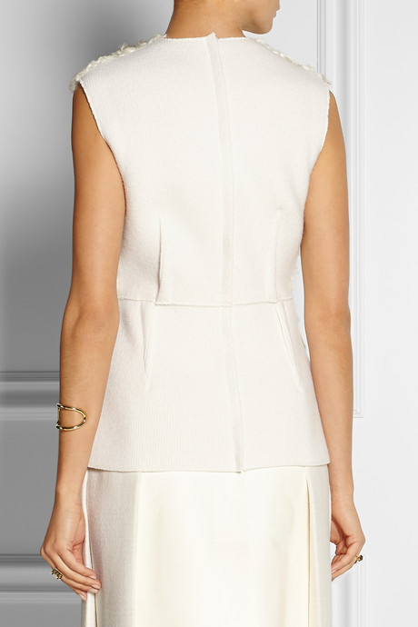 Calvin Klein Collection Sabrinka shearling-paneled wool and cashmere-blend top