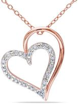 Ice Julie Leah Two-Tone Heart-Shaped Rose-Plated Sterling Silver Pendant Necklace with Diamond Accents
