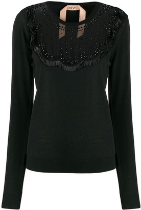 No.21 Sheer Detail Knitted Top