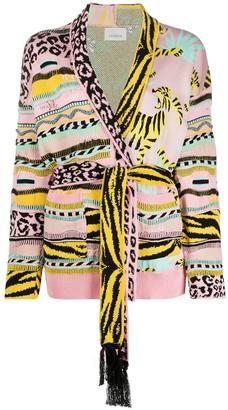Laneus Belted Pattern-Mix Cardigan