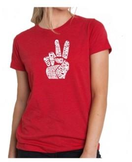 LA Pop Art Women's Premium Word Art T-Shirt - Peace Fingers