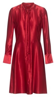 HUGO BOSS Long Sleeved Tie Neck Dress In Lustrous Fabric - Red