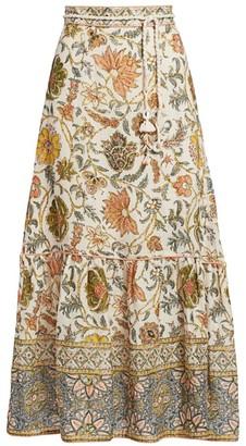 Zimmermann Edie Floral Linen Midi Skirt
