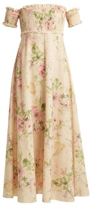 Zimmermann Iris Shirred Linen And Cotton Blend Dress - Womens - Cream Multi
