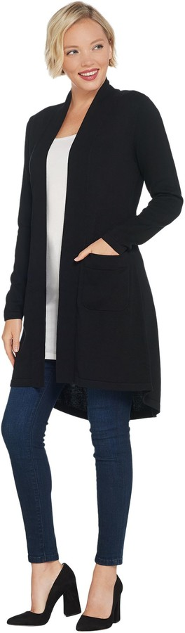 Isaac Mizrahi Live! Open Front Long Cardigan with Pockets