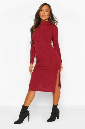boohoo Petite Rib Turtleneck Split Hem Midi Dress