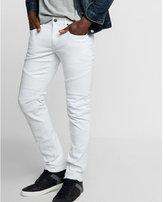 Express skinny white moto stretch jeans