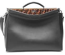 Fendi Men's Logo Embroidered Peekaboo Leather Briefcase