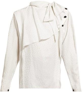 Isabel Marant Saki Draped Silk-blend Blouse - Womens - White Multi