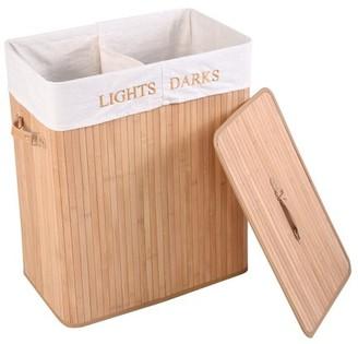 Goplus Folding Rectangle Double Cloth Basket Bamboo Hamper Laundry Storage Bag w/ Lid Natural