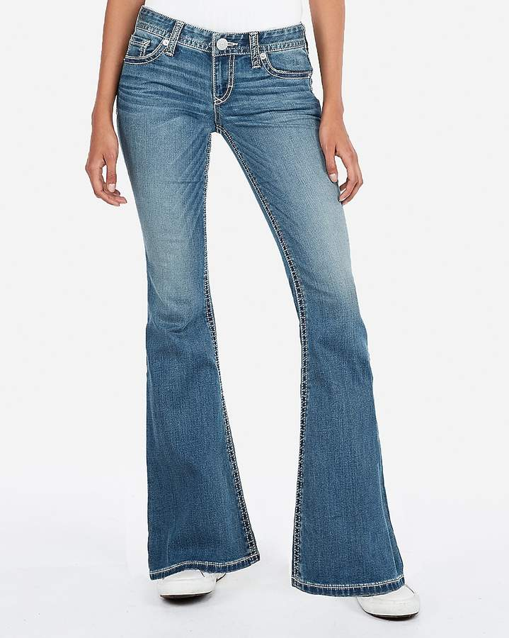Express Low Rise Thick Stitch Bell Flare Jeans