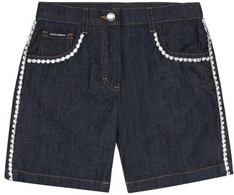 Dolce & Gabbana Kids Crystal-embellished denim shorts