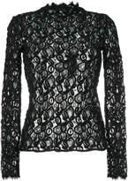Helmut Lang crochet sheer blouse
