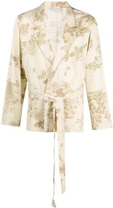 Pierre Louis Mascia Peonia foliage print wrap blazer