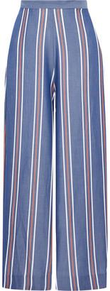 Nicholas Striped Tencel-chambray Wide-leg Pants