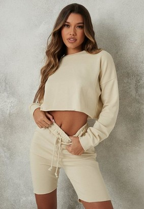 Missguided Stone Crop Sweatshirt And Drawstring Shorts Co Ord Set