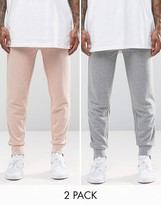 Asos 2 Pack Skinny Jersey Joggers In Dusty Pink And Grey Marl