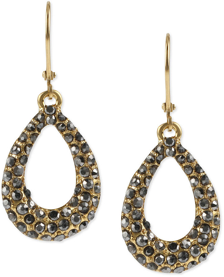 Kenneth Cole New York Earrings, Gold-Tone Glass Crystal Oval Drop Earrings