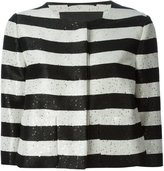 Herno sequin striped cropped jacket