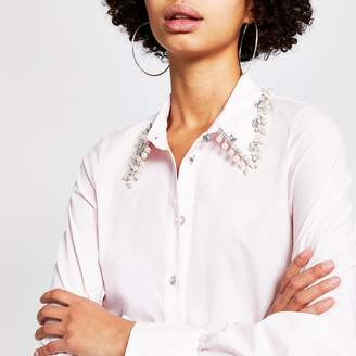 River Island Womens Pink embellished collar long sleeve shirt