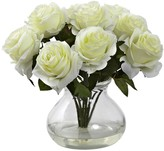 Nearly Natural White Rose Arrangement with Vase
