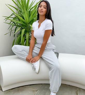 ASOS DESIGN Petite lounge oversized washed jogger in grey marl