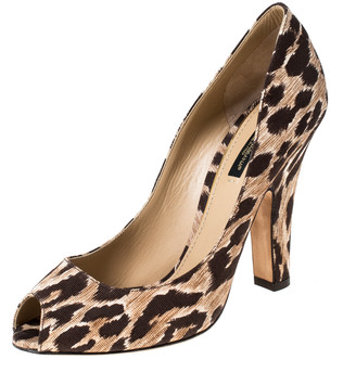 Dolce & Gabbana Brown Leopard Print Fabric Peep Toe Pumps Size 39