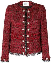 MSGM frayed edge fitted jacket - women - Silk/Cotton/Acrylic/Virgin Wool - 44