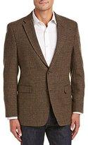 Tommy Hilfiger Men's Brown Houndstooth Shetland Wool Sport Coat