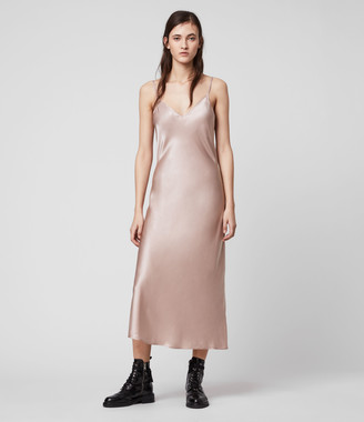 AllSaints Tierney Silk Blend Satin Slip Dress