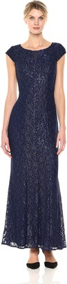 Alex Evenings Women's Long Fit and Flare Dress with Illusion Neckline