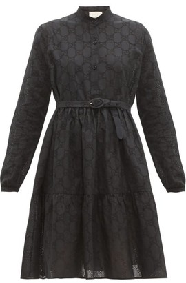 Gucci GG Broderie-anglaise Cotton-blend Dress - Black