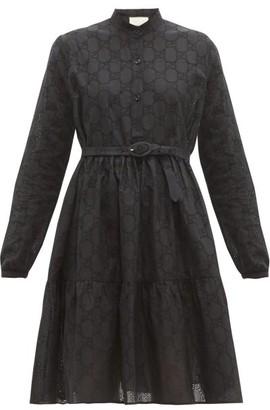 Gucci Gg Broderie-anglaise Cotton-blend Dress - Womens - Black