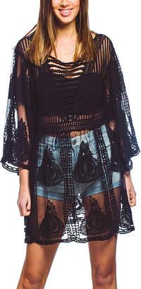 Barrington Women's Swimsuit Coverups BLACK - Black Sheer Embroidered Tunic - Women