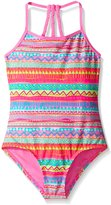 YMI Jeanswear Big Girls' Playland One Piece Double Strap Braided Swimsuit