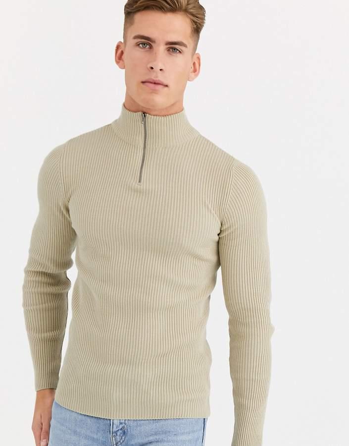 3c4263782e4 Design DESIGN muscle fit ribbed half zip jumper in oatmeal