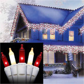 Asstd National Brand Set of 100 Red & Frosted Clear Mini Icicle Christmas Lights with White Wire