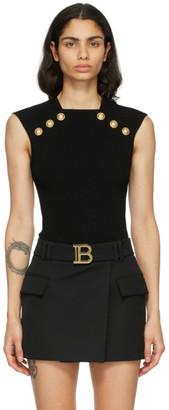 Balmain Black Knit Button Tank Top